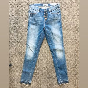 Loft button-front jeans with raw hem